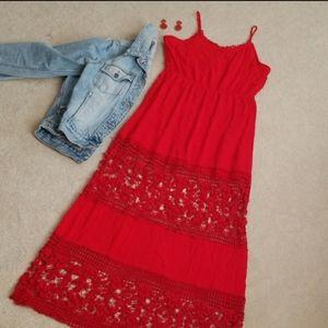Rue 21 Red Crochet Maxi Dress